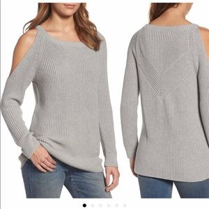 Grey cable knit cold shoulder Crewneck sweater XS